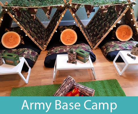 army themed teepee slumber party