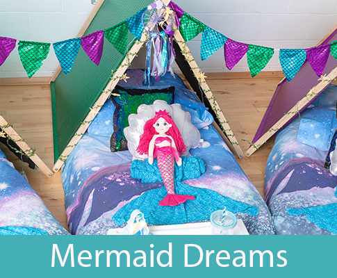 mermaid themed teepee slumber party