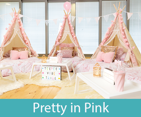 pink themed teepee slumber party
