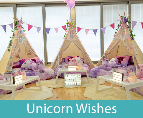 unicorn themed teepee slumber party